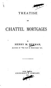 Cover of: Treatise on chattel mortgages | Henry Morrison Hermann