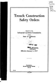 Cover of: Trench construction safety orders | California. Industrial Accident Commission.
