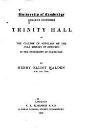 Cover of: Trinity hall | Henry Elliot Malden