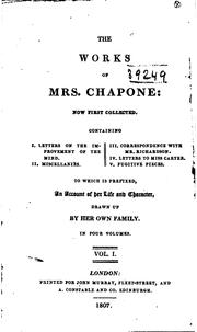 Cover of: The works of Mrs. Chapone | Mrs. Hester (Mulso) Chapone