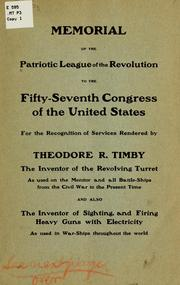 Cover of: Memorial of the Patriotic league of the revolution to the Fifty-seventh Congress of the United States | Patriotic league of the revolution