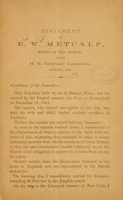 Cover of: Statement of E. W. Metcalf, builder of ship Delphine | Eliab Wight Metcalf
