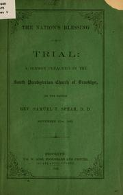 Cover of: The nation's blessing in trial | Samuel T[hayer] Spear
