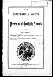 Cover of: The Metropolitan Society for the Prevention of Cruelty to Animals | Metropolitan Society for the Prevention of Cruelty to Animals (Ottawa, Ont.).