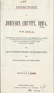 Cover of: Directory of Johnson County, Iowa, for 1878-79 | H. W. Fyffe