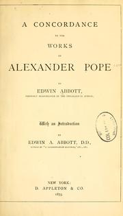 Cover of: A concordance to the works of Alexander Pope | Edwin Abbott
