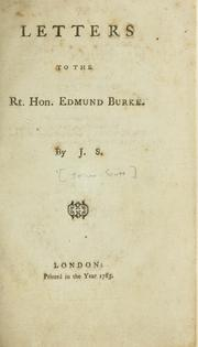 Cover of: Letters to the Rt. Hon. Edmund Burke | Scott Major