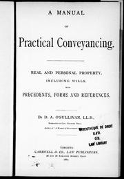 Cover of: A manual of practical conveyancing | D. A. O'Sullivan