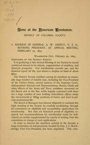 Cover of: Annual address of Gen | Sons of the American revolution. District of Columbia society.