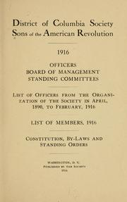 Cover of: Officers, Board of management, standing committees | Sons of the American revolution. District of Columbia society.