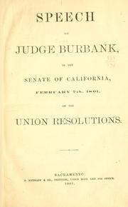 Cover of: Speech of Judge Burbank, in the Senate of California | Caleb Burbank