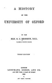 Cover of: A History of the University of Oxford by George Charles Brodrick
