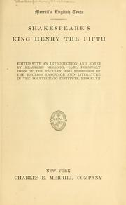 Cover of: Shakespeare's King Henry the Fifth, ed by William Shakespeare