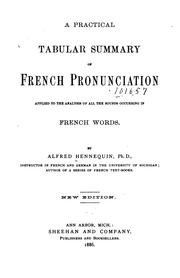 Cover of: A Practical Tabular Summary of French Pronunciation | Alfred Hennequin