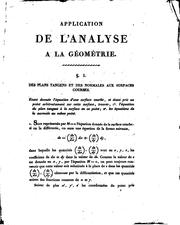 Cover of: Application de l'analyse à la géometrie à l'usage de l'École impériale polytechnique | Gaspard Monge