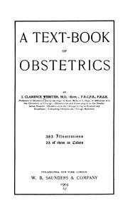 Cover of: A Text-book of obstetrics by John Clarence Webster