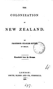 Cover of: The Colonization of New Zealand by Carl Ritter