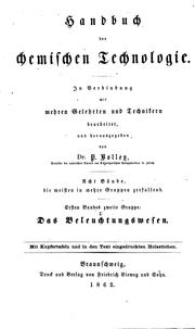 Cover of: Das Beleuchtungswesen by Pompejus Alexander Bolley
