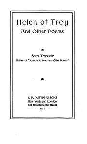 Cover of: Helen of Troy, and other poems by Sara Teasdale