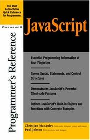 Cover of: JavaScript programmer's reference | Christian MacAuley
