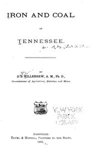 Cover of: Iron and Coal of Tennessee: By J. B. Killebrew | Joseph Buckner Killebrew