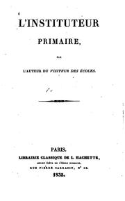 Cover of: L'Instituteur primaire | Jacques Matter