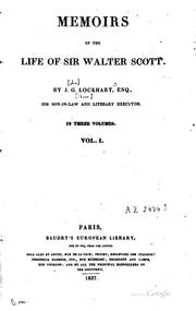 Cover of: Memoirs of the Life of Sir Walter Scott | John Gibson Lockhart