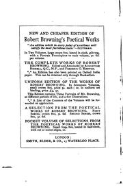 Cover of: Pocket Volume of Selections from the Poetical Works of Robert Browning by Robert Browning
