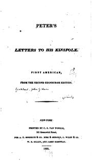 Cover of: Peter's Letters to His Kinsfolk | John Gibson Lockhart