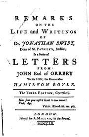 Cover of: Remarks on the Life and writings of dr. Jonathan Swift by John Boyle