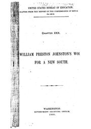 Cover of: William Preston Johnston's Work for a New South | Amory Dwight Mayo