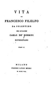 Cover of: Vita di Francesco Filelfo by Carlo de' Rosmini