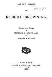 Cover of: Select Poems of Robert Browning by Robert Browning