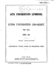 Cover of: Lunds universitets årsskrift: Acta Universitatis Lundensis. Nova series | Lunds universitet