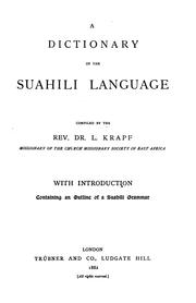 Cover of: A Dictionary of the Suahili Language by Johann Ludwig Krapf