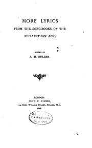 Cover of: More Lyrics from the Song-books of the Elizabethan Age by Arthur Henry Bullen
