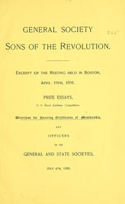 Cover of: Excerpt of the meeting held in Boston, April 19th, 1895 | Sons of the revolution.