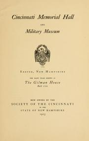 Cover of: Cincinnati memorial hall and military museum, Exeter, New Hampshire | Society of the Cincinnati. New Hampshire