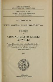 Cover of: South coastal basin investigation by California. Division of Water Resources.