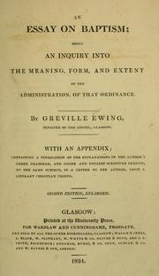 Cover of: An essay on baptism by Greville Ewing