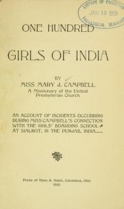 Cover of: One hundred girls of India by Mary Jane Campbell