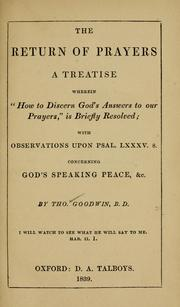 Cover of: The return of prayers by Goodwin, Thomas