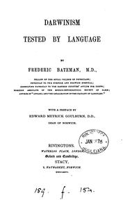 Cover of: Darwinism tested by language | Bateman, Frederick Sir