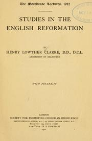 Cover of: Studies in the English reformation | Clarke, Henry Lowther