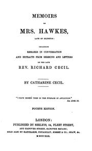 Cover of: Memoirs of Mrs. Hawkes, late of Islington | Catharine Cecil