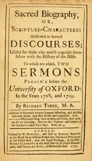 Cover of: Sacred biography; or, Scripture-characters | Richard Theed