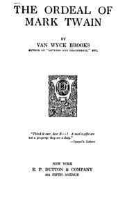 Cover of: The ordeal of Mark Twain | Van Wyck Brooks