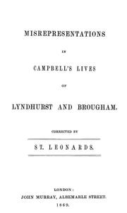 Cover of: Misrepresentations in Campbell's Lives of Lyndhurst and Brougham by Edward Burtenshaw Sugden