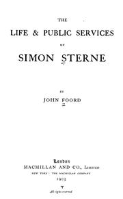 Cover of: The life & public services of Simon Sterne | John Foord