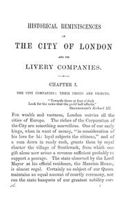 Cover of: Historical reminiscences of the city of London and its livery companies | Thomas Arundell